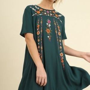 Umgee Green Embroidered Dress